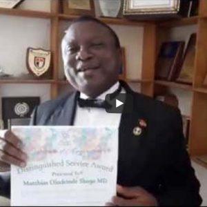 Distinguished Service Award Goes to Dr. Deinde Shoga!