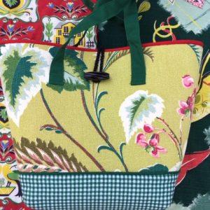 Ruthie K Vintage Barkcloth Handbag (Floral)