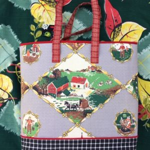 Ruthie K Vintage Barkcloth Handbag (Scenic)