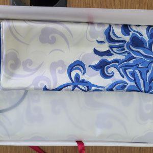 White & Blue Silk Scarf