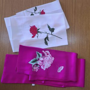 2 Embroidered Silk Scarves