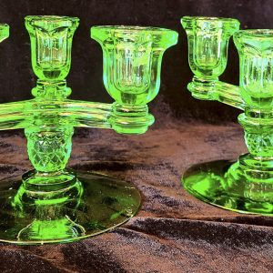 Green Depression Era Glass Candelabras