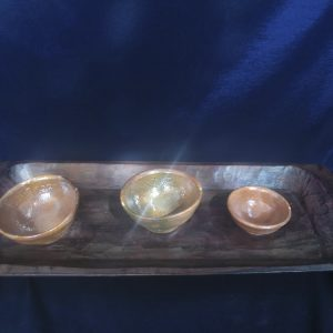Hand Made Wood Tray with 3 Ceramic Serving Balls